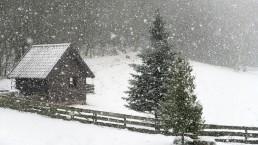 pada snieg zima z siedlisku na wygonie