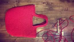 torba ze sznurka ręcznie dziergana