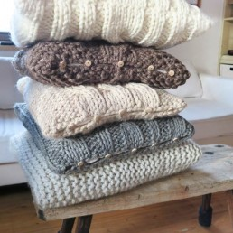 poduszki wełniane warkocze rękodzieło